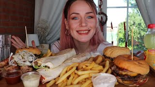 MUKBANG | Бургеры, шашлык, роллы | Burgers, barbecue не ASMR