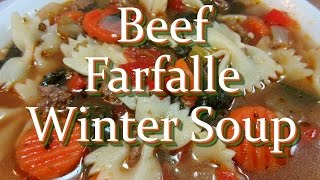 Beef Vegetable Farfalle Winter Soup Recipe