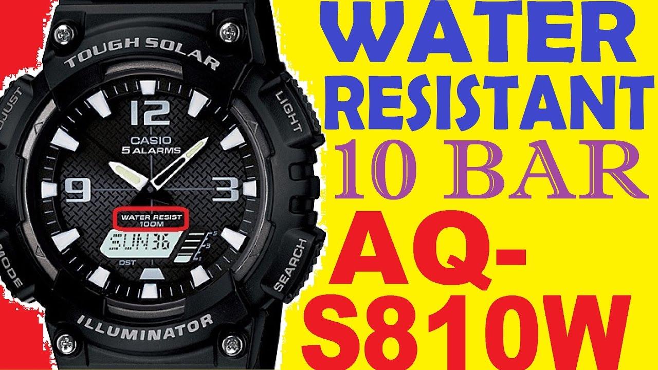 Water Resistant 10 Bar Casio Aq S810w