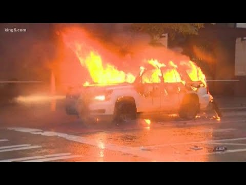 Multiple Seattle police vehicles set on fire, destroyed amid protests