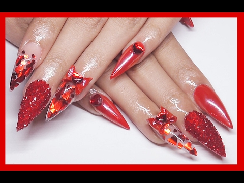 red heart valentine acrylic nails
