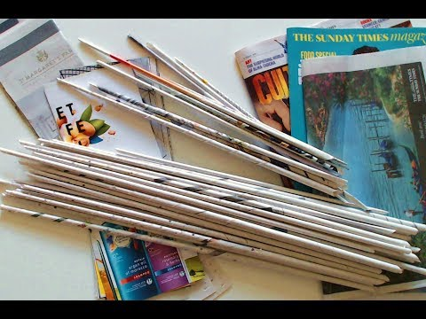 Rolled paper sticks. How to make paper weaving sticks. Recycle paper