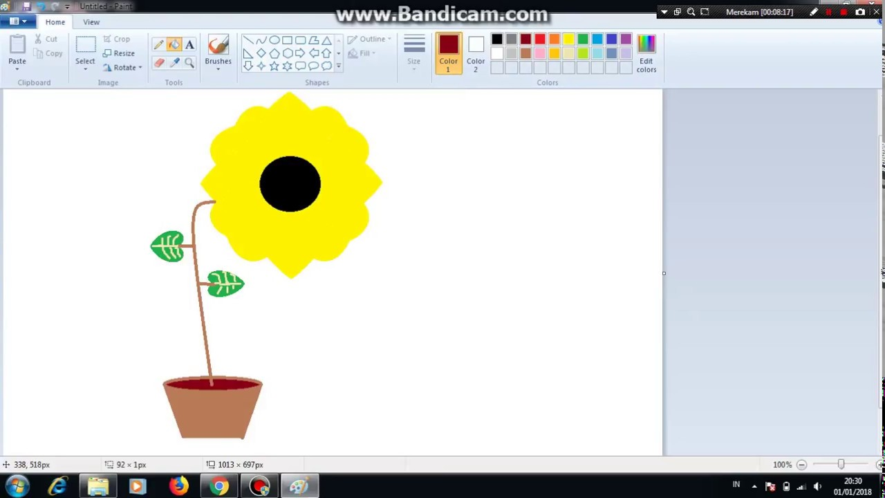 Tutorial Menggambar Bunga Matahari Menggunakan Paint Youtube
