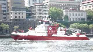 New York City Fire Department boat going down the East River.