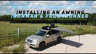 Ironman awning using Frontrunner brackets on a Slimline 2 roof rack