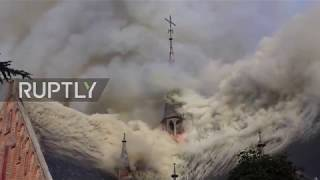 Netherlands: Huge plumes of smoke rise from blazing church