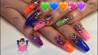 Acrylic Nails using neon acrylic powders