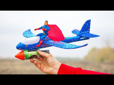 Experiment: Spiderman on Plane with Rocket XXL instead of an Engine