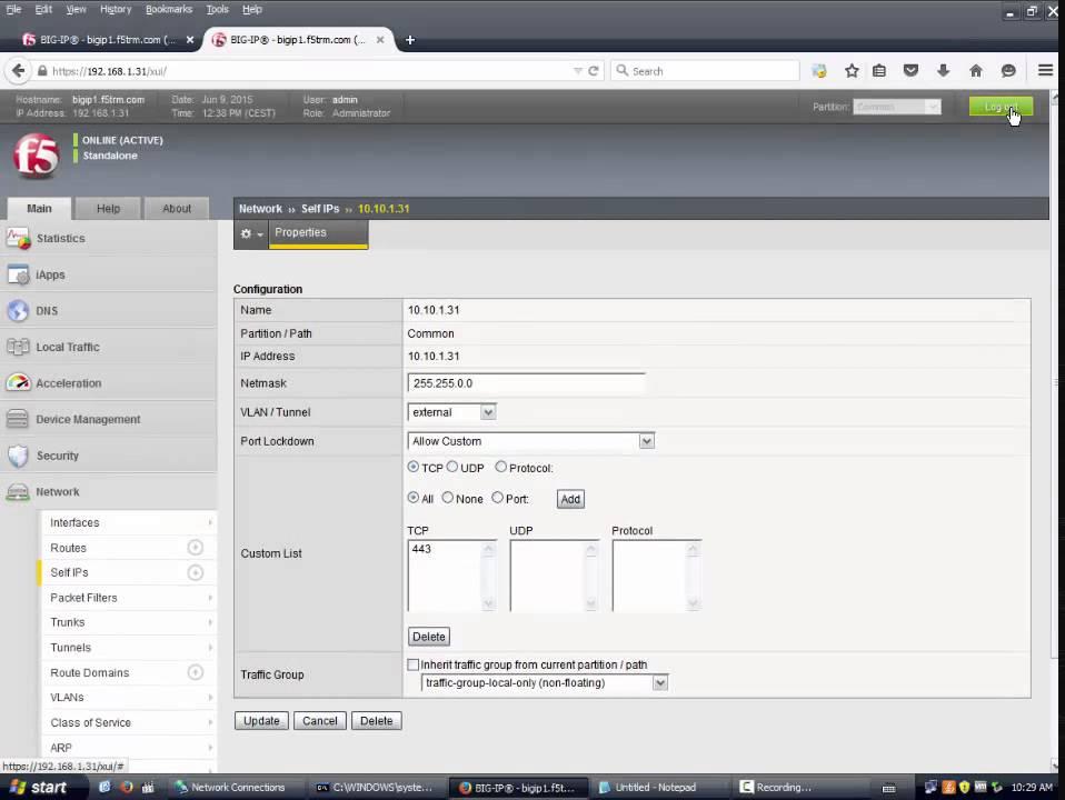 02 f5 port lockdown and creating UCS file