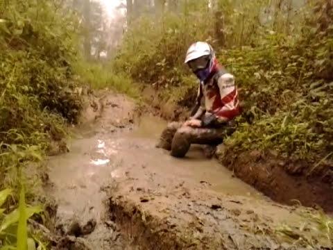 completely in mud , bike gear
