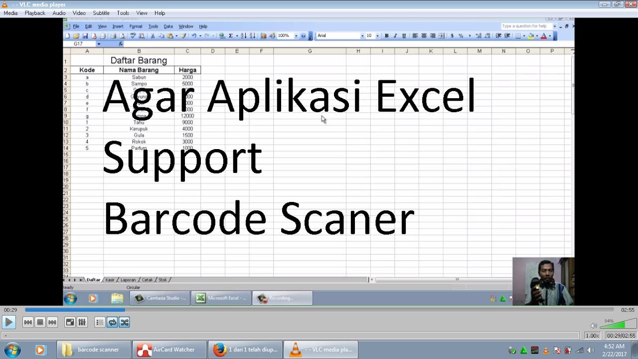 cara membuat aplikasi excel support barcode scanner