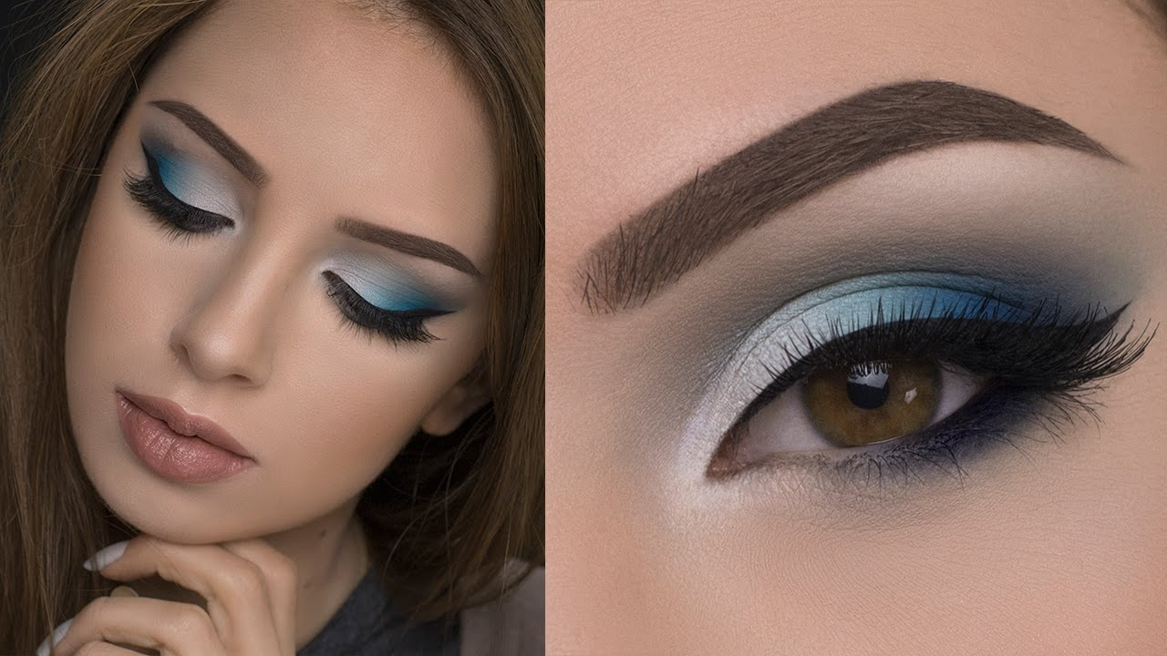 soft blue smokey eye makeup tutorial