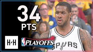LaMarcus Aldridge Full Game 2 Highlights Spurs vs Warriors 2018 Playoffs - 34 Points, 12 Reb