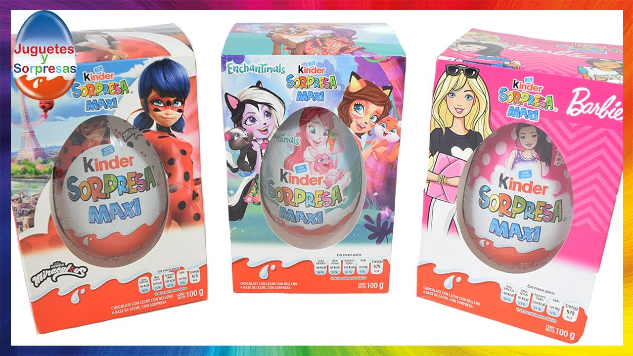 Huevos Kinder Sorpresa MAXI de Enchantimals, Barbie y Miraculous Lady Bug - JuguetesYSorpresas