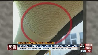 Driver finds defect in brand new car