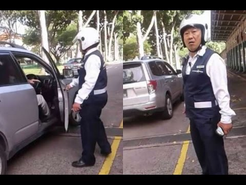 Aggressive LTA officer uncle argues and wants to fight with car driver