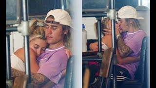 Justin Bieber & Hailey Baldwin make out kissing & hugging at cafe in Brooklyn New York July 26 2018