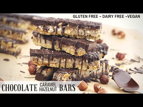 Chocolate Caramel & Hazelnut Bars (Gluten Free, Dairy Free, Vegan)