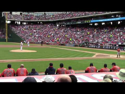 Derek Holland throws his 1st pitch of the 2015 season Texas Rangers Home Opener