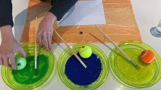 Tennis Ball Splatter Painting For Kids