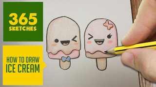 HOW TO DRAW A ICE CREAM CUTE, Easy step by step drawing lessons for kids