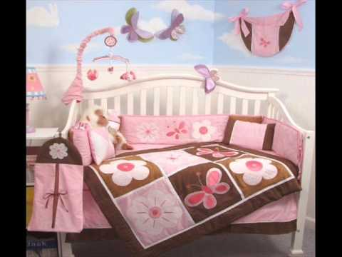 Pink And Brown Floral Garden Baby Crib Nursery Bedding Set ; Pink And Brown Baby