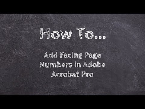 How To Add Facing Page Numbers In Adobe Acrobat Pro