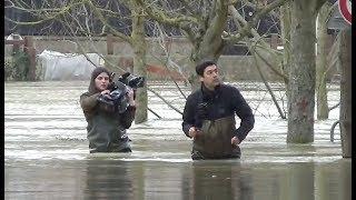 Inondations : La Marne dépasse le mur anti crue à Gournay sur Marne le 2 février 2018
