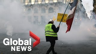 'Yellow vest' protesters clash with police in France during 10th week of protests