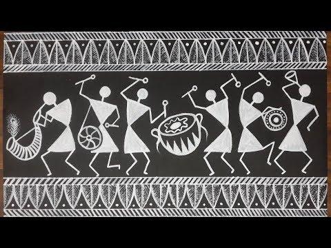 Warli Acrylic Painting Warlipainting Youtube