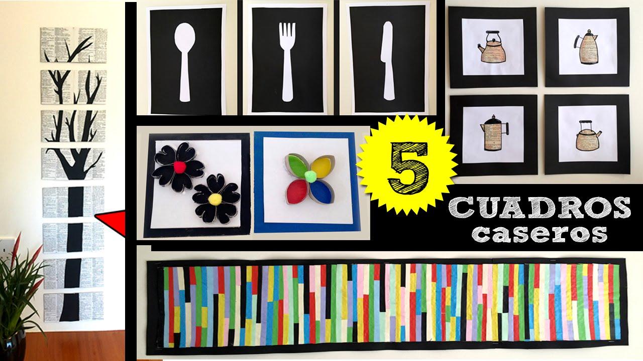 5 cuadros caseros con papel y cart n youtube - Cuadros faciles de hacer ...