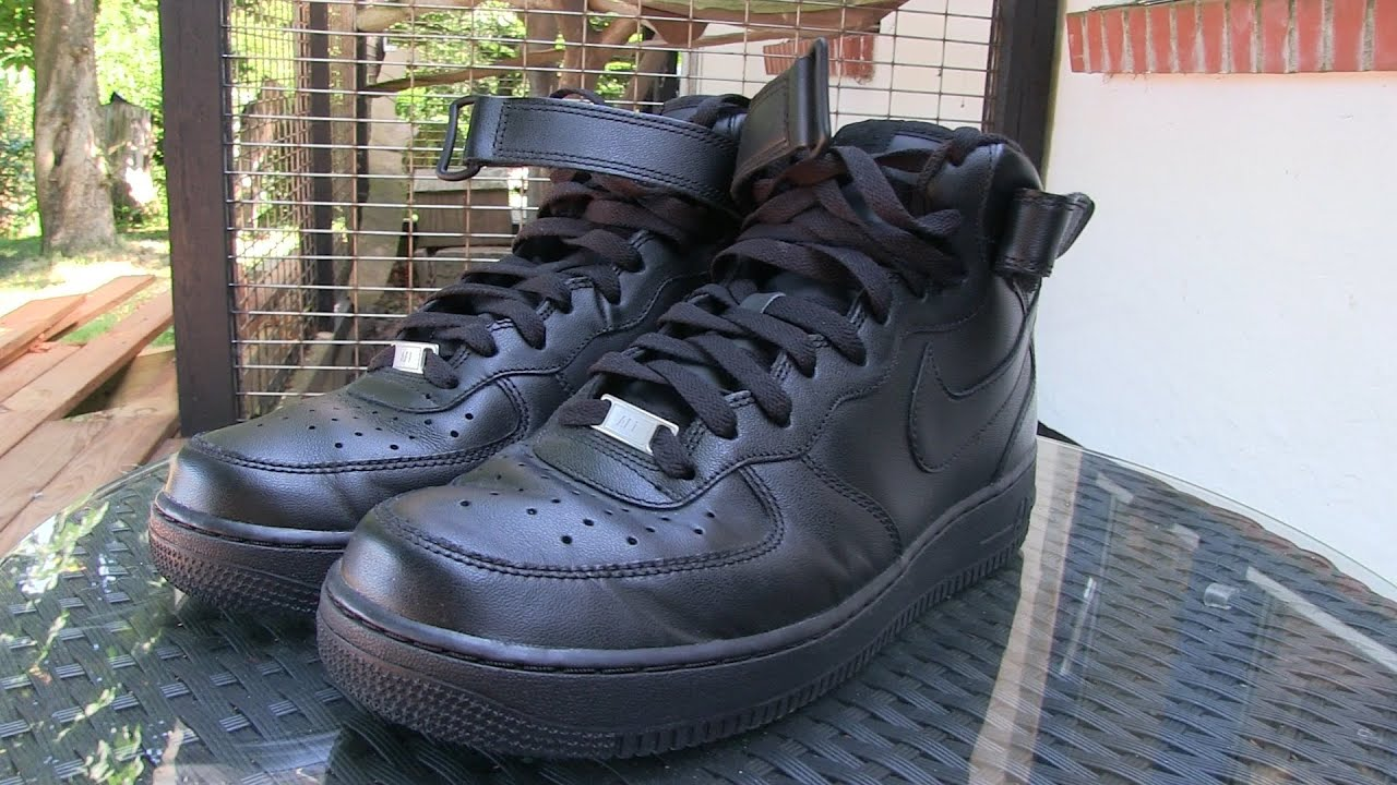 Color rosa Política Aptitud  Nike - Air Force 1 MID '07 (Black) - Quick Review + On Feet - YouTube