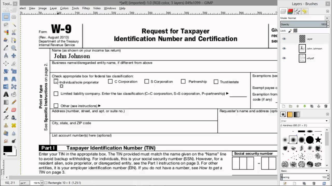How to electronically fill out a pdf w9 tax form youtube falaconquin