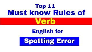 Verb , Top 11 Must Know Rules For Spotting Errors | Bank PO | CLerk | IPPB PO [In Hindi]