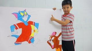 SuRich vẽ và tô màu Tom và Jerry - Mèo và chuột  - Draw and paint Tom & Jerry Cartoon for kids