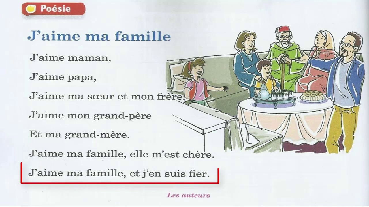 Comptine Jaime Ma Famille Unité 2 Le Nouvel Espace 2 Aep
