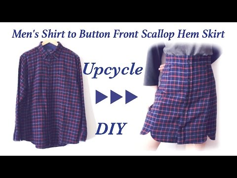 DIY Old Men's Shirt to Button Front Scallop Hem Skirt ✂️ メンズシャツリメイク / Sewing Tutorialㅣmadebyaya