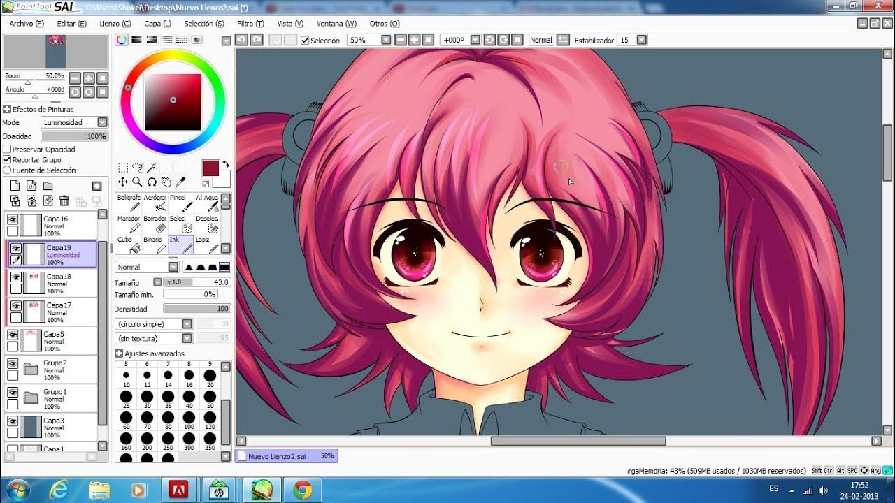 Cómo colorear pelo en SAI Tutorial #4 con Shukei - YouTube