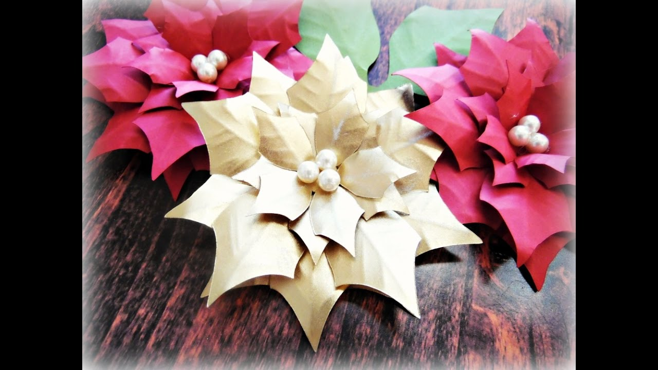 Paper poinsettia flower tutorial youtube mightylinksfo