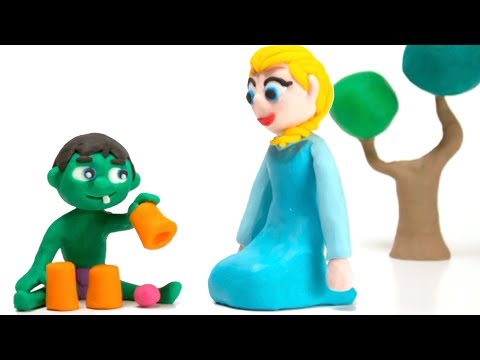 Baby Hulk playing with Elsa Stop motion video for kids