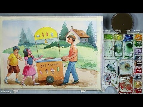 Memory Drawing : Ice cream seller selling ice cream to the kids | Watercolor step by step Painting