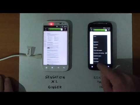 Sensation XL (ginger) VS Sensation (xe mod) ICS OTA navigazione web a confronto part 1
