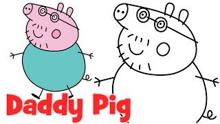 How to draw Peppa Pig family Daddy step by step easy drawing for kids