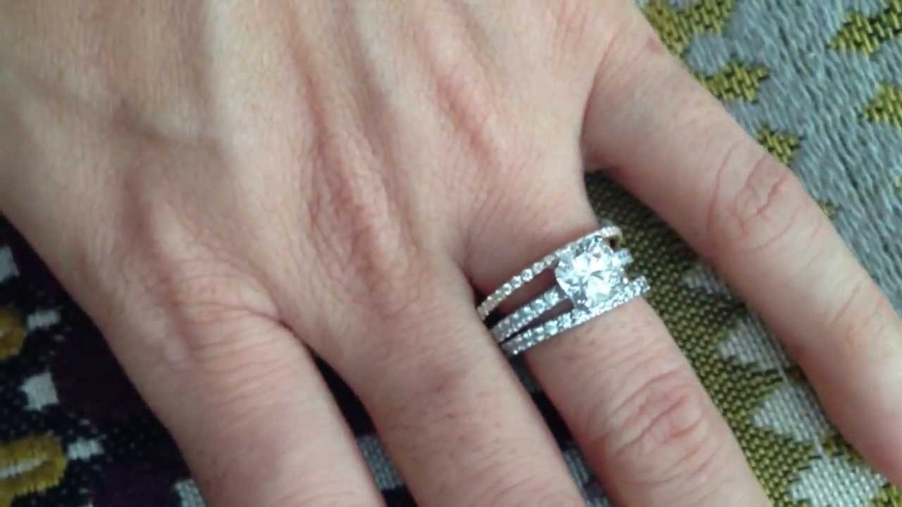 Engagement ring tiffany on hand  Tiffany Novo Engagement Ring with novo and metro bands - YouTube