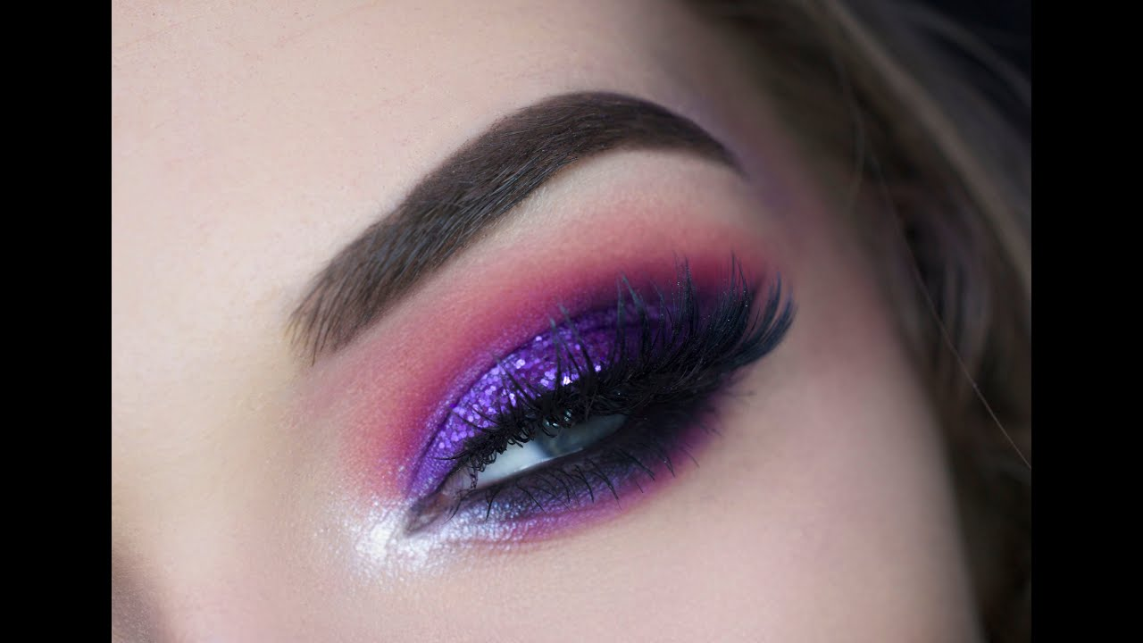 Pink Amp Purple Glitter Eye Tutorial Youtube