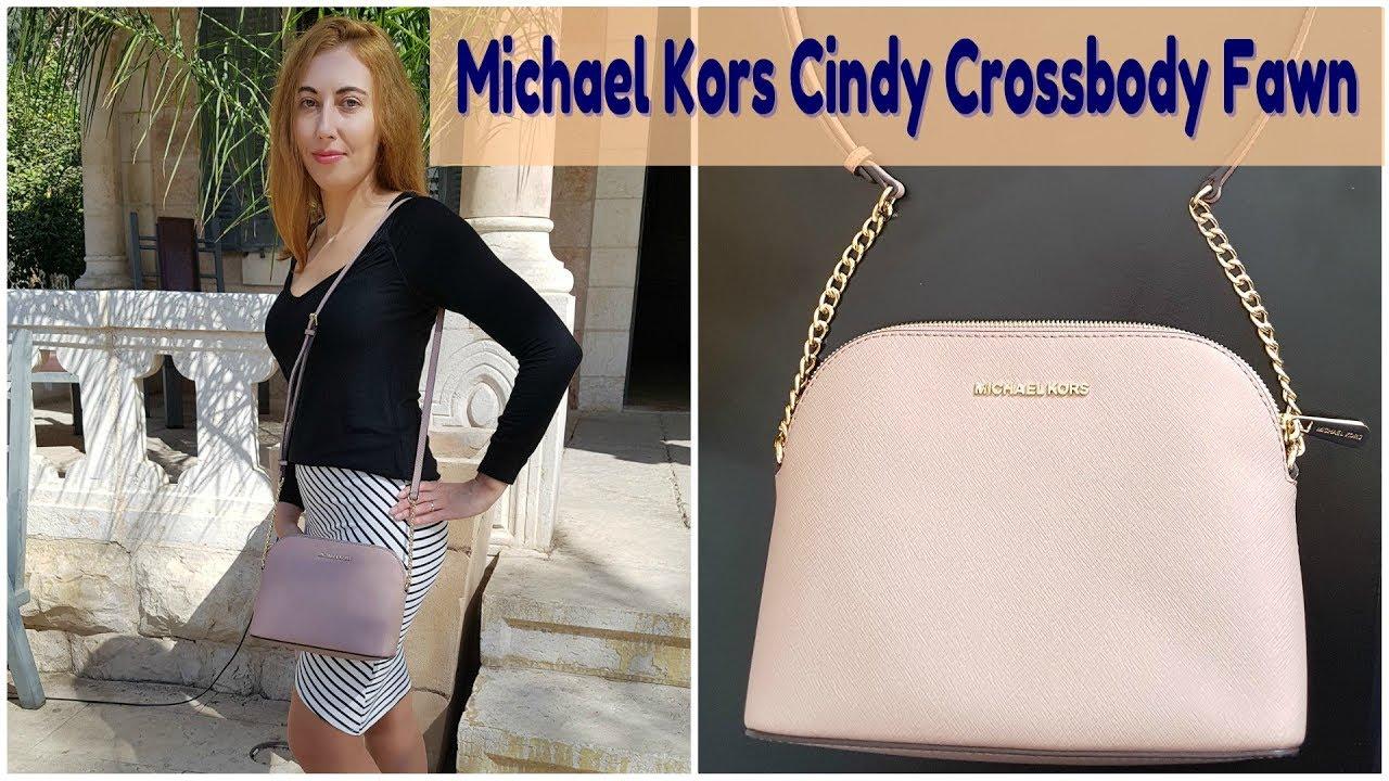 8fc98c83194c Обзор на сумку Michael Kors Cindy Crossbody, цвет Fawn - YouTube