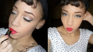♡♡1950s Pinup Look / Neutral cut crease, Bold red Lips (Collaboration Video w/ Yelena Lskaya)♡♡ Thumbnail
