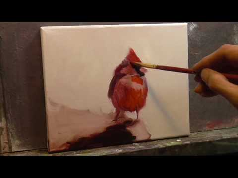 """Cardinal"" Real Time EVERY BRUSH STROKE Painting Demo paint faster EASY by Peter Chorao"