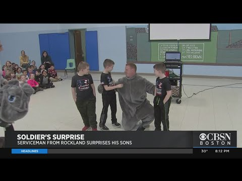 Soldier Dad Surprises Sons At Rockland Elementary School