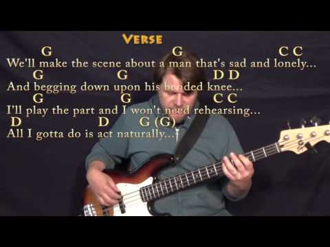 Act Naturally (The Beatles) Bass Guitar Cover Lesson with Chords/Lyrics